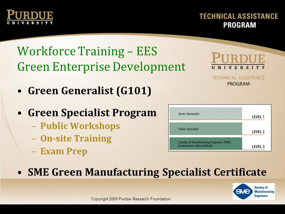 Green Generalist (G101) Green Specialist Program –Public Workshops –On-site Training –Exam Prep SME Green Manufacturing Specialist Certificate Copyrig
