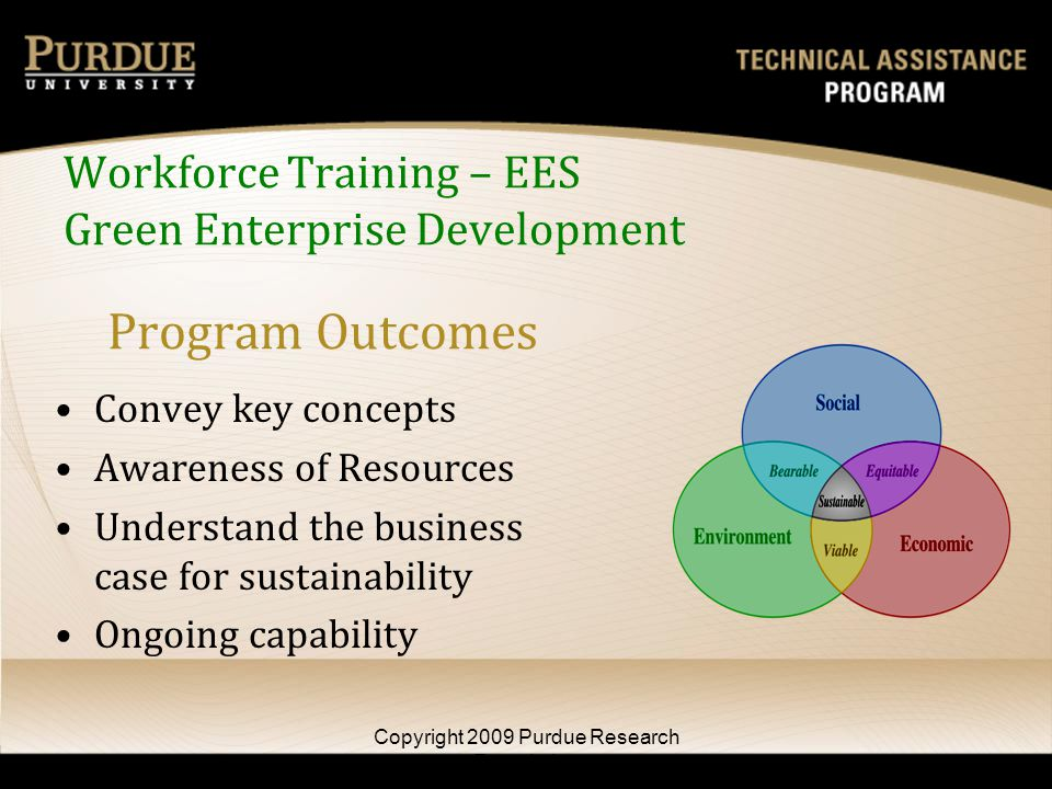 Program Outcomes Convey key concepts Awareness of Resources Understand the business case for sustainability Ongoing capability Copyright 2009 Purdue Research Foundation Workforce Training – EES Green Enterprise Development