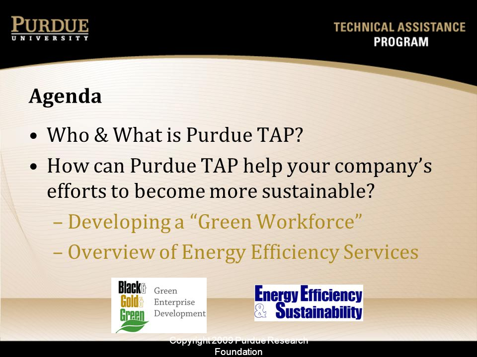 Workforce Training – EES – Team Building 111 workers trained 22 companies engaged After only 1 year: 8 companies reported savings of $1.26 million and; Average energy intensity reduction of 8.5% Copyright 2009 Purdue Research Foundation