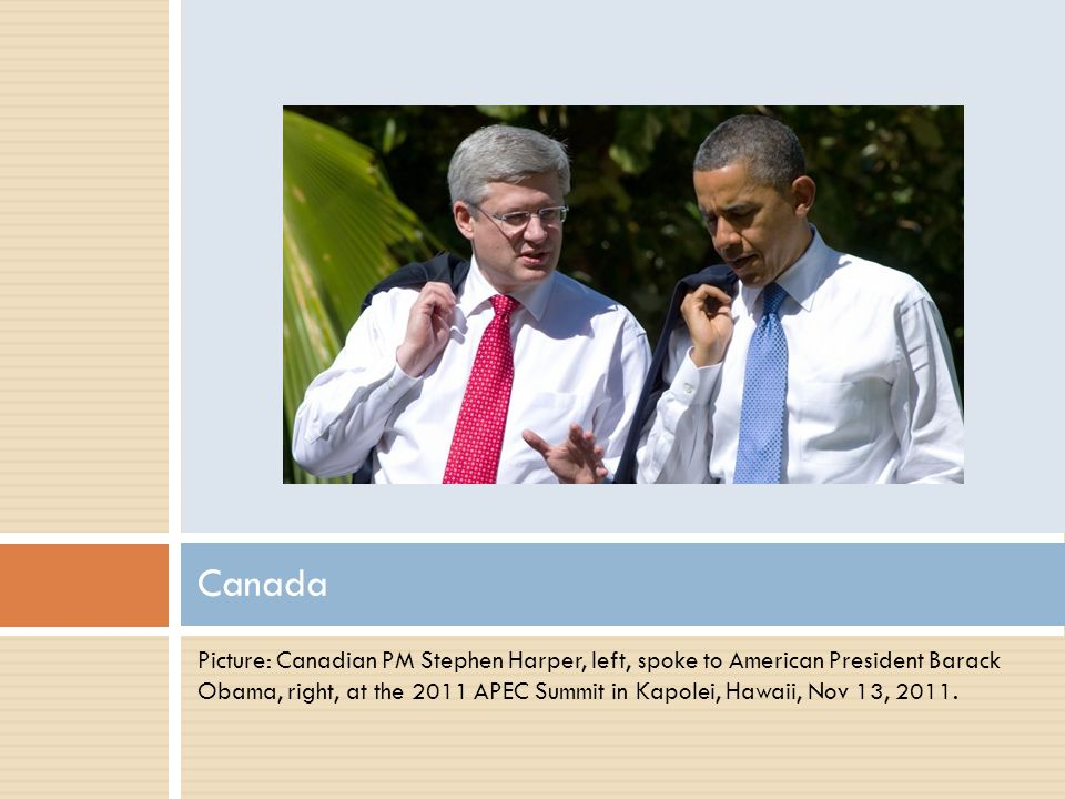Picture: Canadian PM Stephen Harper, left, spoke to American President Barack Obama, right, at the 2011 APEC Summit in Kapolei, Hawaii, Nov 13, 2011.