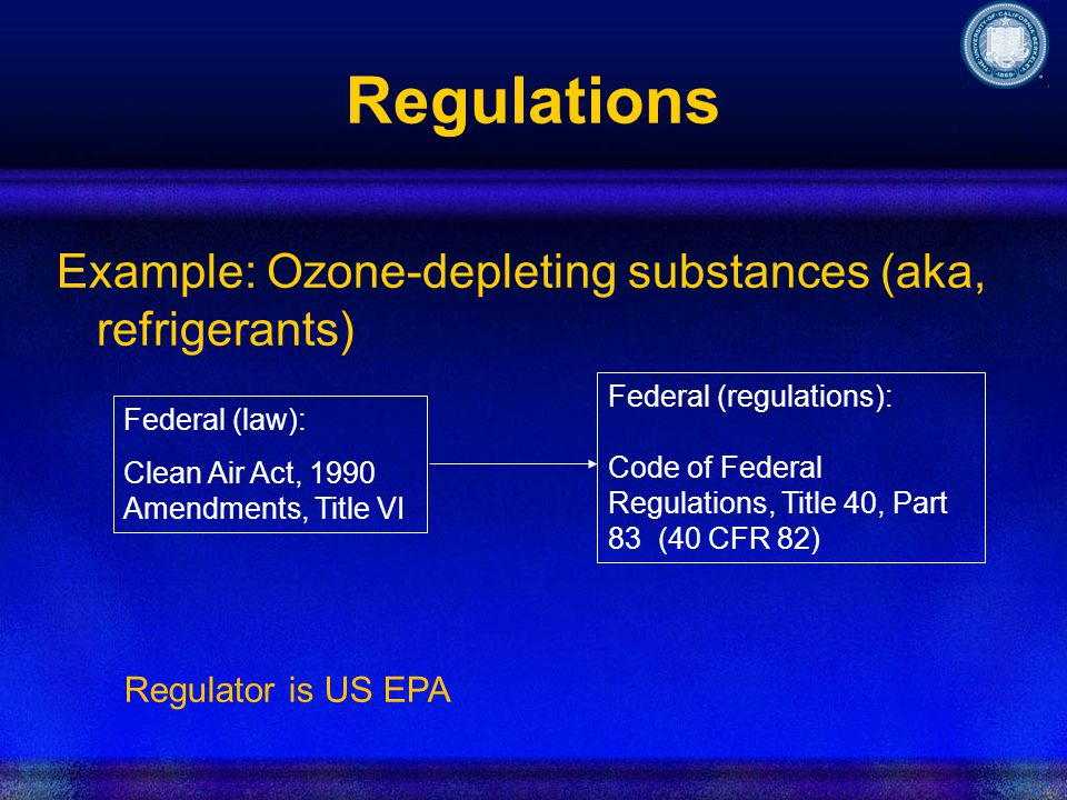 Regulations Example: Ozone-depleting substances (aka, refrigerants) Federal (law): Clean Air Act, 1990 Amendments, Title VI Regulator is US EPA Federal (regulations): Code of Federal Regulations, Title 40, Part 83 (40 CFR 82)
