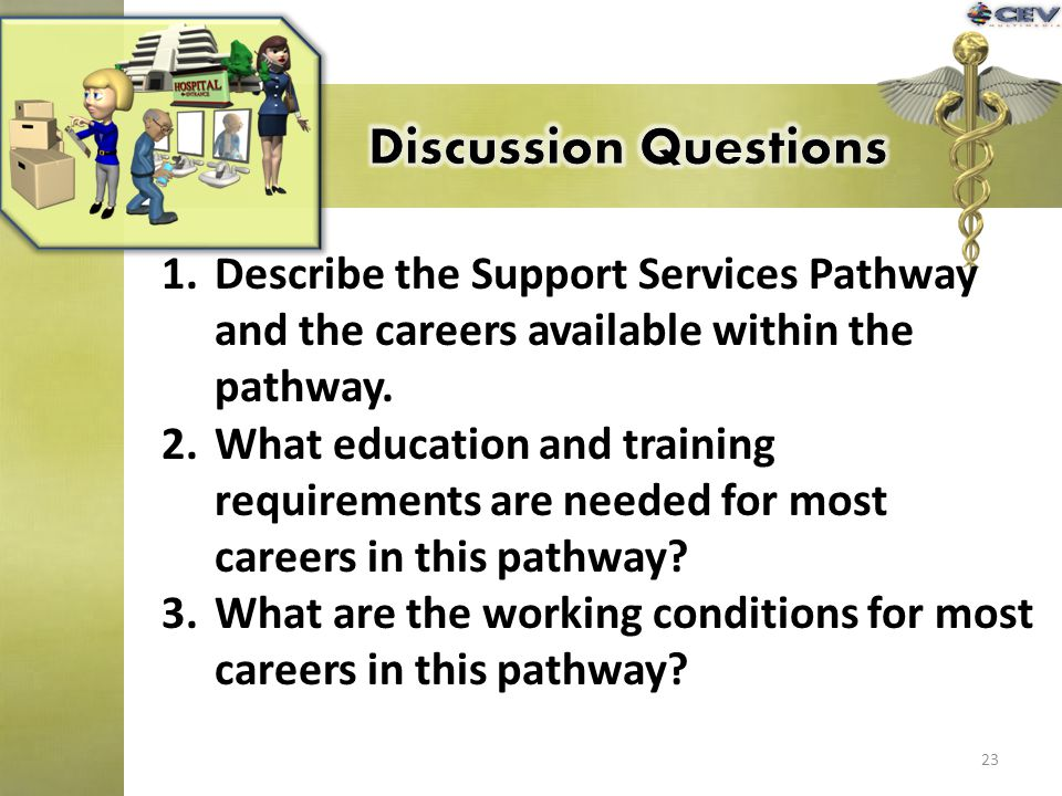 23 1.Describe the Support Services Pathway and the careers available within the pathway. 2.What education and training requirements are needed for mos