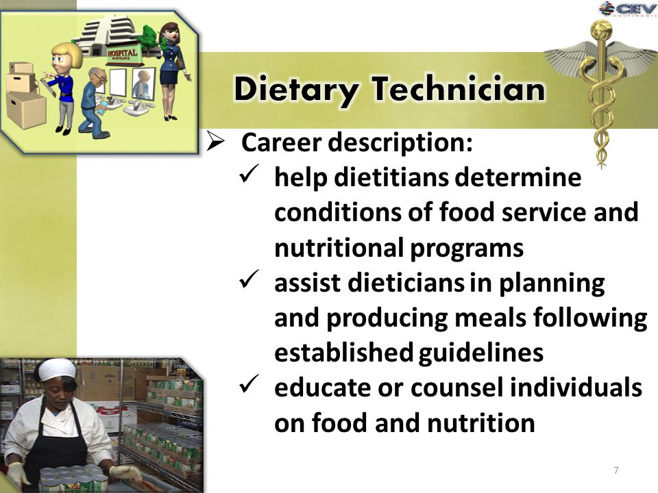 Career description: help dietitians determine conditions of food service and nutritional programs assist dieticians in planning and producing meals fo