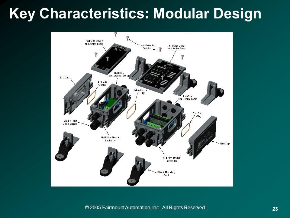 © 2005 Fairmount Automation, Inc. All Rights Reserved. 23 Key Characteristics: Modular Design
