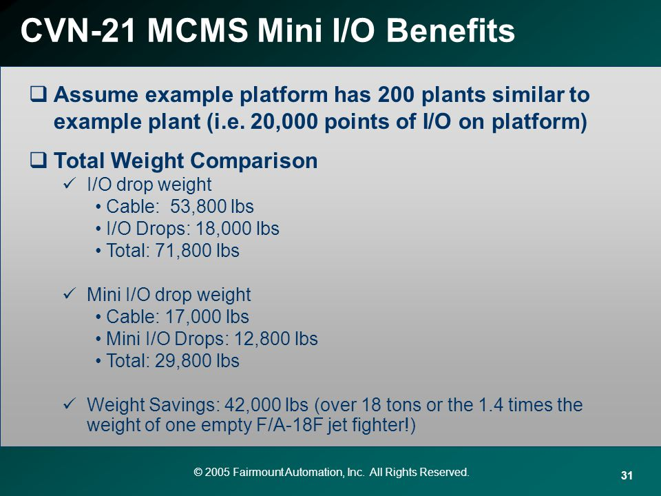 © 2005 Fairmount Automation, Inc. All Rights Reserved. 31 CVN-21 MCMS Mini I/O Benefits Assume example platform has 200 plants similar to example plan