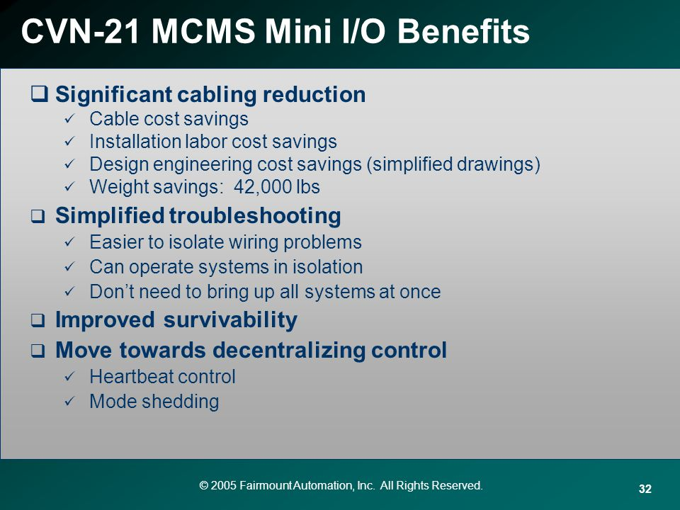 © 2005 Fairmount Automation, Inc. All Rights Reserved. 32 CVN-21 MCMS Mini I/O Benefits Significant cabling reduction Cable cost savings Installation