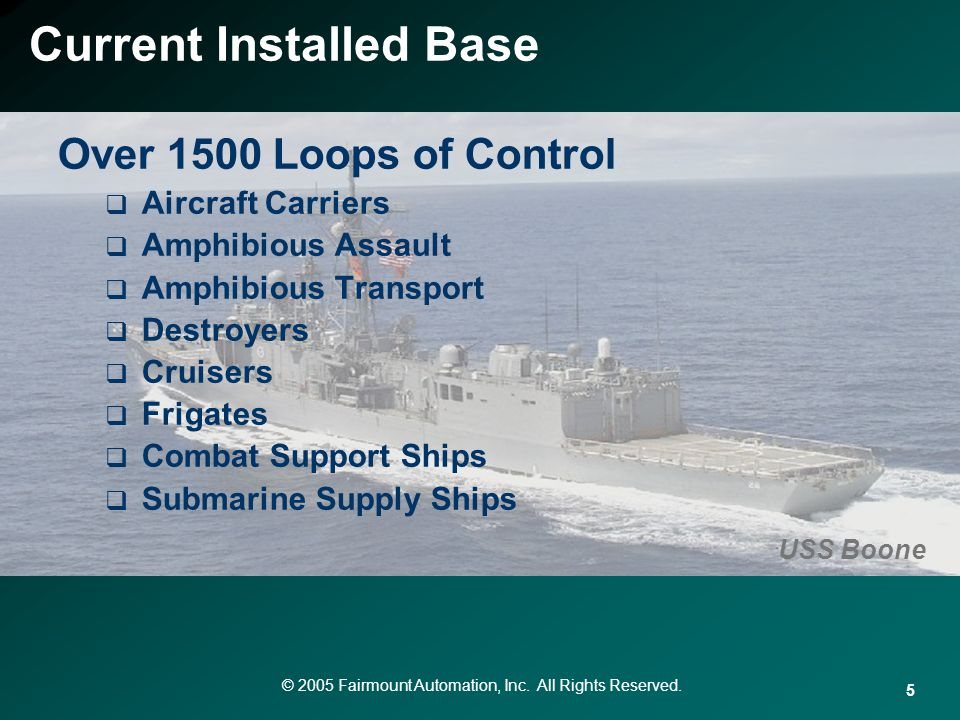 © 2005 Fairmount Automation, Inc. All Rights Reserved. 5 Over 1500 Loops of Control Aircraft Carriers Amphibious Assault Amphibious Transport Destroye