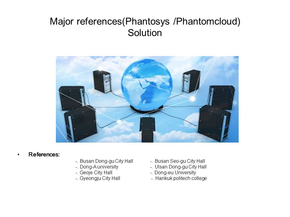 Major references(Phantosys /Phantomcloud) Solution References: -.