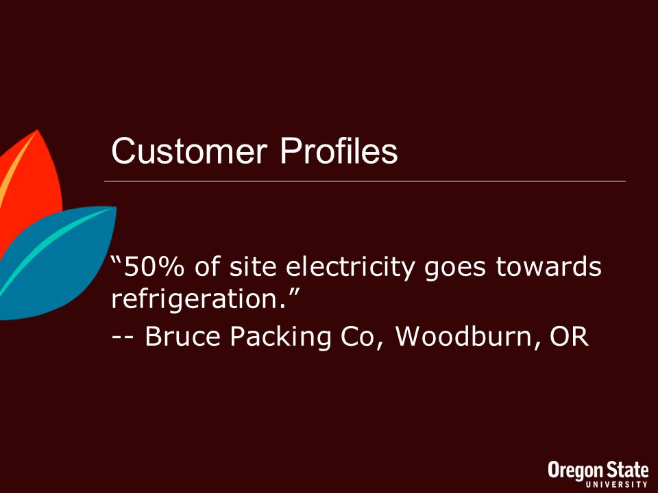 Customer Profiles 50% of site electricity goes towards refrigeration.