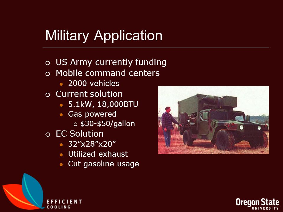 Military Application US Army currently funding Mobile command centers 2000 vehicles Current solution 5.1kW, 18,000BTU Gas powered $30-$50/gallon EC Solution 32x28x20 Utilized exhaust Cut gasoline usage