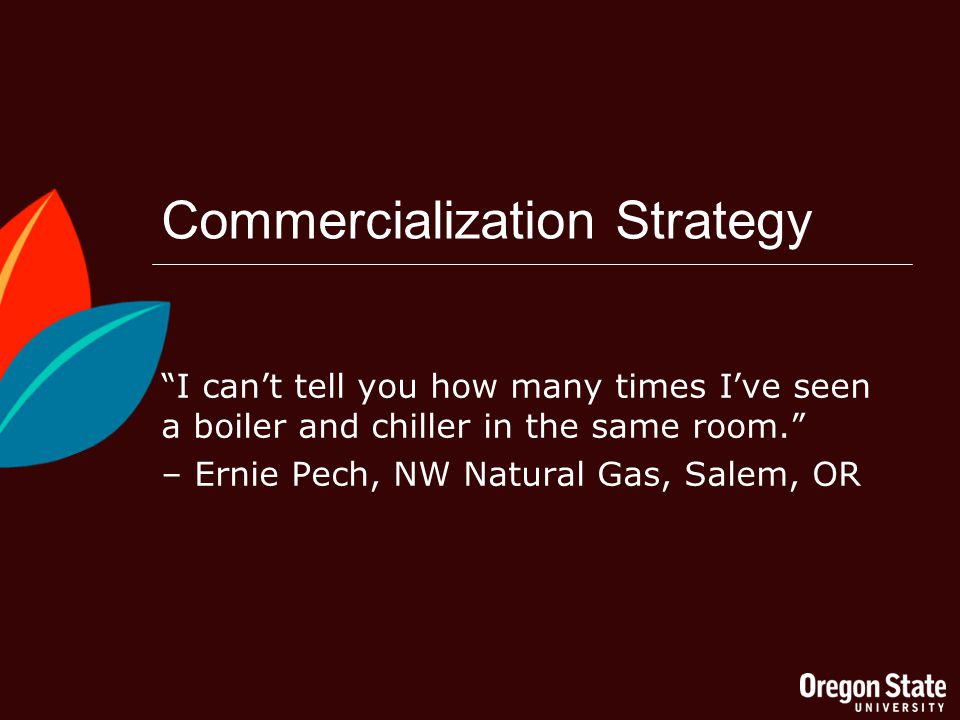 Commercialization Strategy I cant tell you how many times Ive seen a boiler and chiller in the same room.