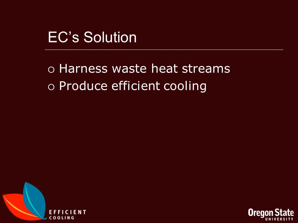 ECs Solution Harness waste heat streams Produce efficient cooling