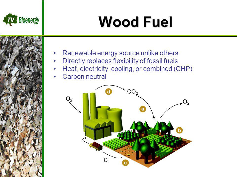 Wood Fuel Renewable energy source unlike others Directly replaces flexibility of fossil fuels Heat, electricity, cooling, or combined (CHP) Carbon neutral TV Bioenergy Wood Fuel Sources Management Harvesting Chipping Dry/Storage Transportation