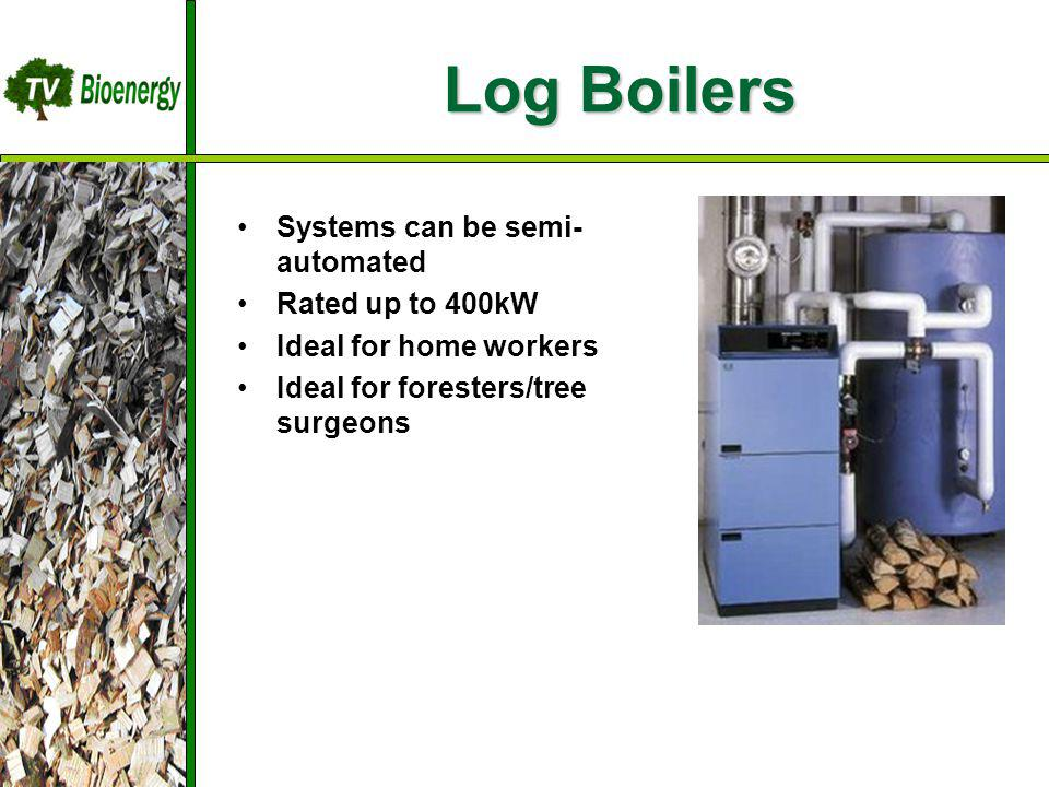 Log Boilers TV Bioenergy Wood Fuel Sources Management Harvesting Chipping Dry/Storage Transportation Systems can be semi- automated Rated up to 400kW