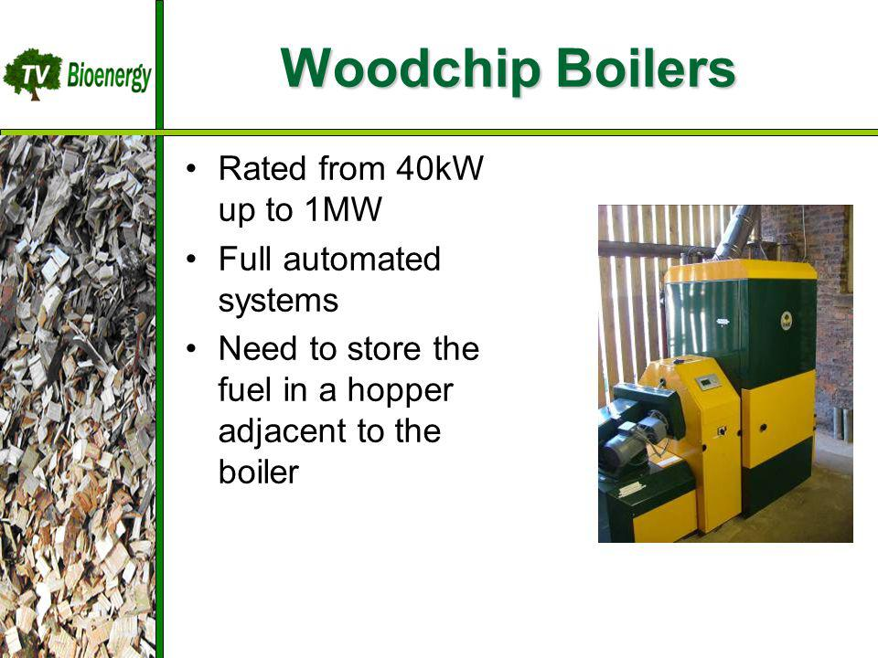 Woodchip Boilers Rated from 40kW up to 1MW Full automated systems Need to store the fuel in a hopper adjacent to the boiler TV Bioenergy Wood Fuel Sou