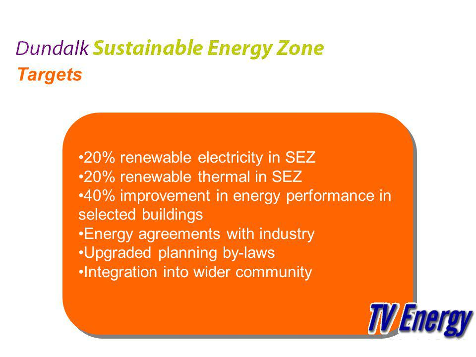 Targets 20% renewable electricity in SEZ 20% renewable thermal in SEZ 40% improvement in energy performance in selected buildings Energy agreements with industry Upgraded planning by-laws Integration into wider community 20% renewable electricity in SEZ 20% renewable thermal in SEZ 40% improvement in energy performance in selected buildings Energy agreements with industry Upgraded planning by-laws Integration into wider community