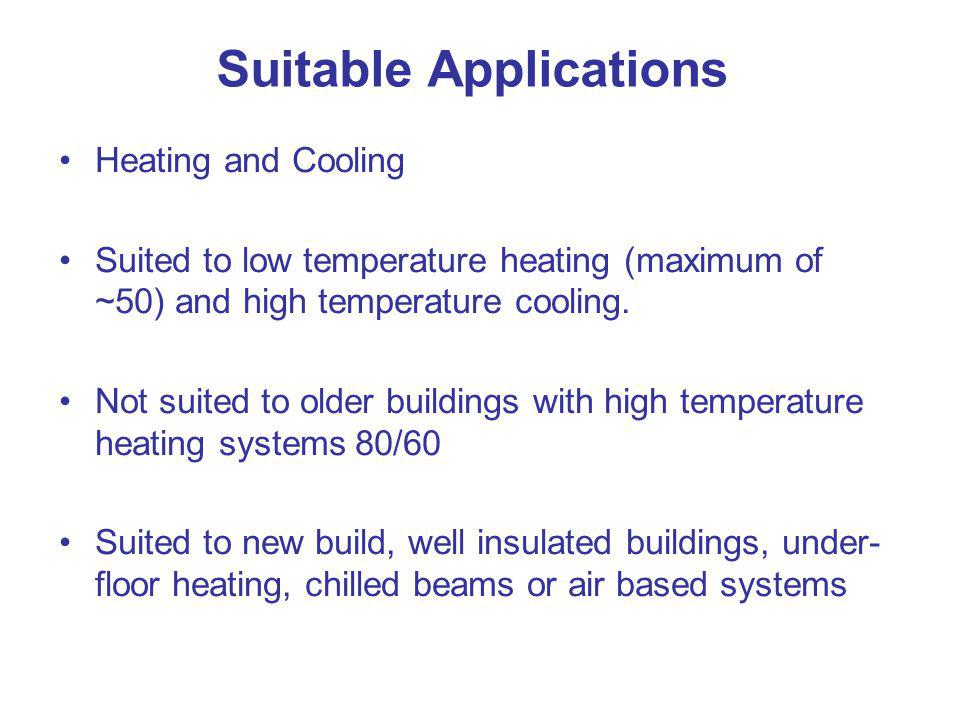 Suitable Applications Heating and Cooling Suited to low temperature heating (maximum of ~50) and high temperature cooling. Not suited to older buildin