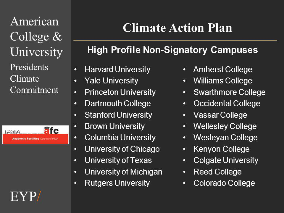 EYP/ Climate Action Plan Harvard University Yale University Princeton University Dartmouth College Stanford University Brown University Columbia University University of Chicago University of Texas University of Michigan Rutgers University Amherst College Williams College Swarthmore College Occidental College Vassar College Wellesley College Wesleyan College Kenyon College Colgate University Reed College Colorado College American College & University Presidents Climate Commitment High Profile Non-Signatory Campuses