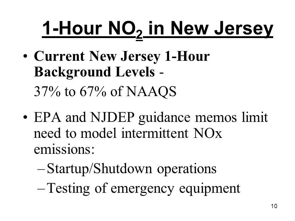 10 1-Hour NO 2 in New Jersey Current New Jersey 1-Hour Background Levels - 37% to 67% of NAAQS EPA and NJDEP guidance memos limit need to model interm