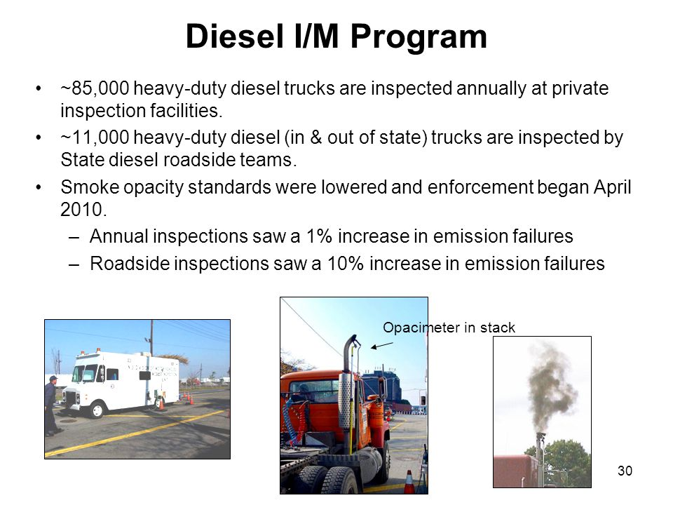 30 Diesel I/M Program ~85,000 heavy-duty diesel trucks are inspected annually at private inspection facilities. ~11,000 heavy-duty diesel (in & out of
