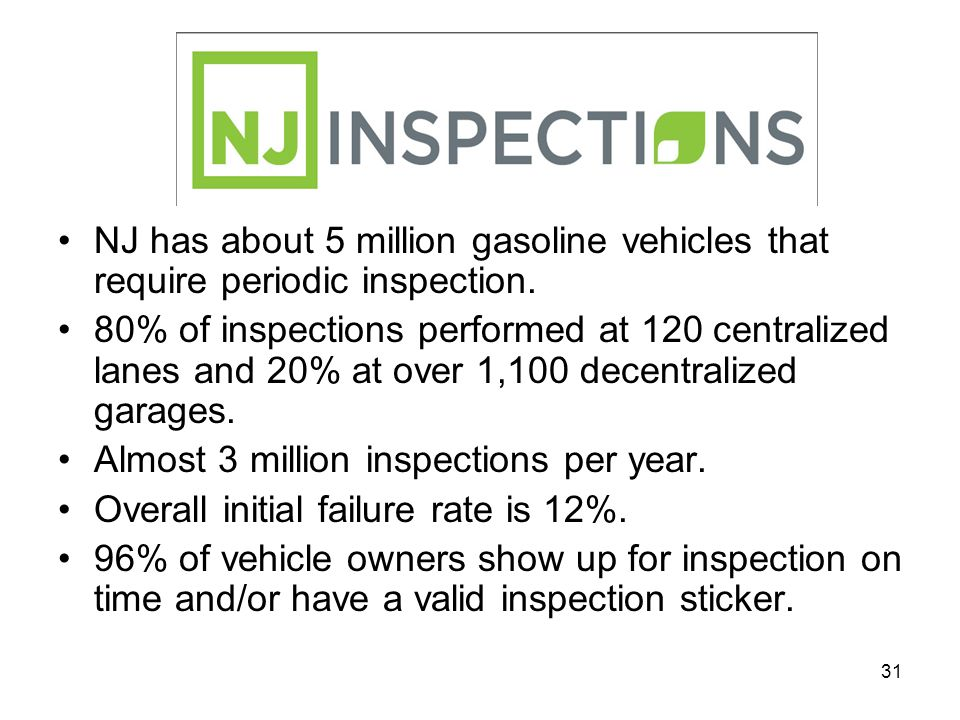 31 NJ has about 5 million gasoline vehicles that require periodic inspection. 80% of inspections performed at 120 centralized lanes and 20% at over 1,