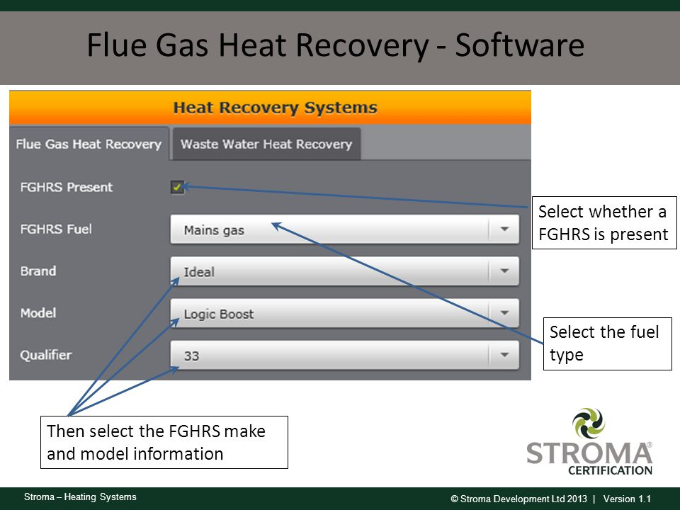 © Stroma Development Ltd 2013 | Version 1.1 Stroma – Heating Systems Flue Gas Heat Recovery - Software Select whether a FGHRS is present Select the fu