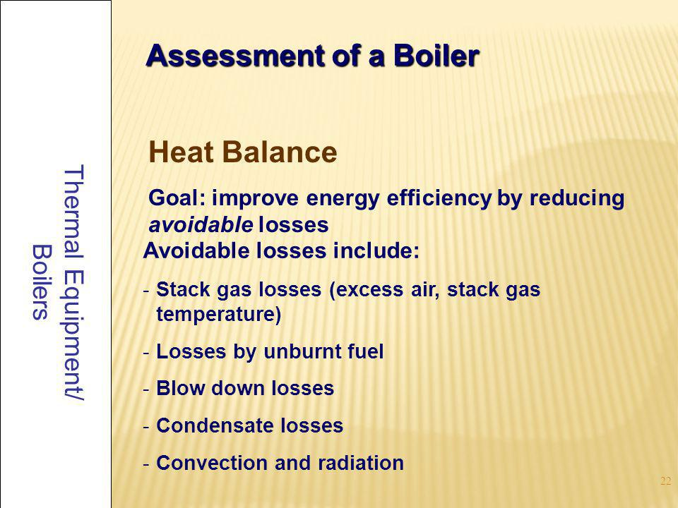23 Thermal Equipment/ Boilers Assessment of a Boiler 1.