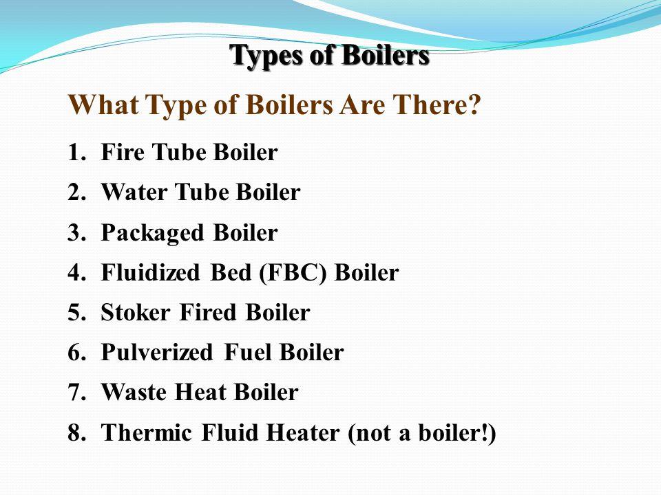 Types of Boilers 1.Fire Tube Boiler 2.Water Tube Boiler 3.Packaged Boiler 4.Fluidized Bed (FBC) Boiler 5.Stoker Fired Boiler 6.Pulverized Fuel Boiler