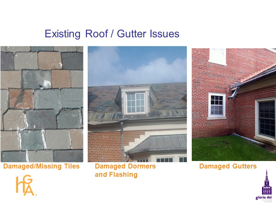 Existing Roof / Gutter Issues Damaged GuttersDamaged Dormers and Flashing Damaged/Missing Tiles