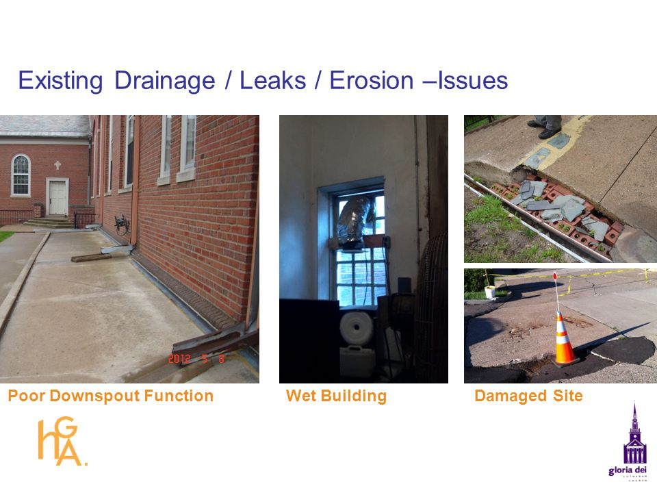 Existing Drainage / Leaks / Erosion –Issues Damaged SiteWet BuildingPoor Downspout Function