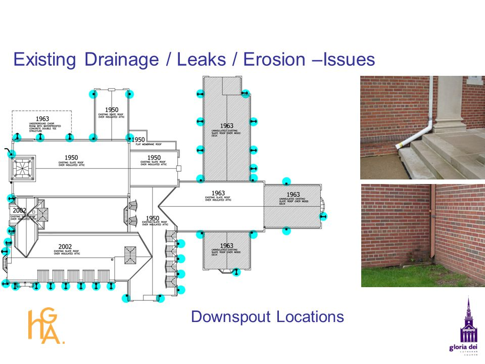 Existing Drainage / Leaks / Erosion –Issues Downspout Locations