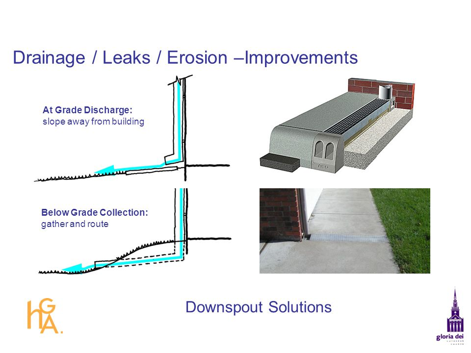Drainage / Leaks / Erosion –Improvements At Grade Discharge: slope away from building Below Grade Collection: gather and route Downspout Solutions