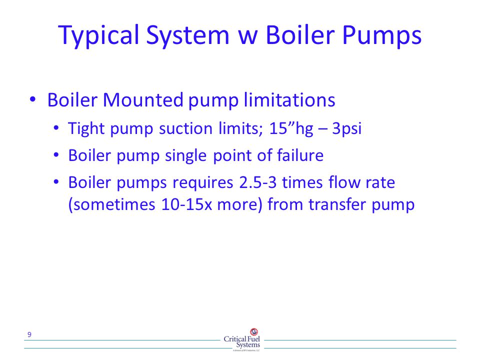 Typical System w Boiler Pumps Boiler Mounted pump limitations Tight pump suction limits; 15hg – 3psi Boiler pump single point of failure Boiler pumps