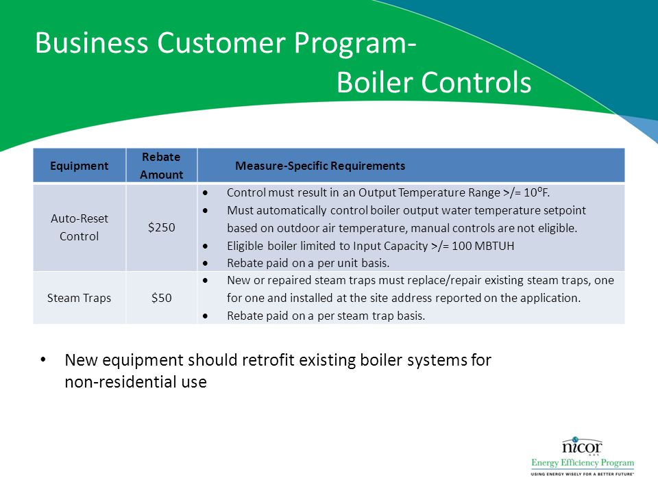 Business Customer Program- Boiler Controls Equipment Rebate Amount Measure-Specific Requirements Auto-Reset Control $250 Control must result in an Out