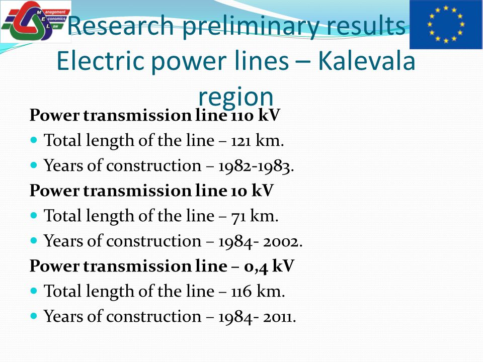 Power transmission line 110 kV Total length of the line – 121 km.