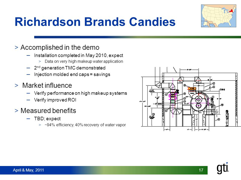 April & May, 2011 17 April & May, 2011 17 Richardson Brands Candies >Accomplished in the demo Installation completed in May 2010, expect >Data on very high makeup water application 2 nd generation TMC demonstrated Injection molded end caps = savings > Market influence Verify performance on high makeup systems Verify improved ROI >Measured benefits TBD; expect >~94% efficiency, 40% recovery of water vapor