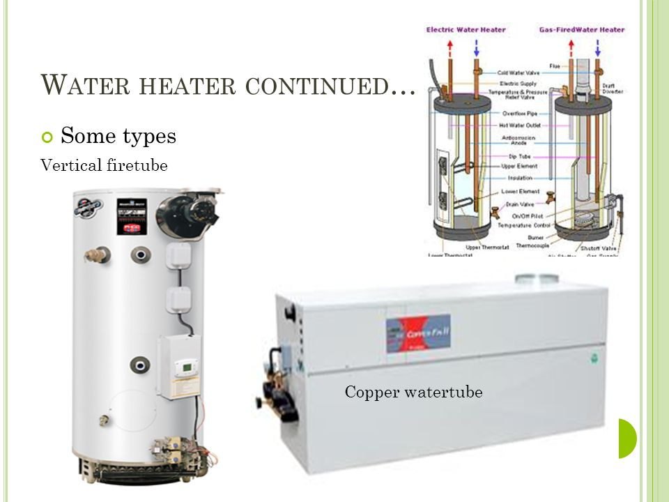 W ATER HEATER CONTINUED … Some types Vertical firetube Copper watertube