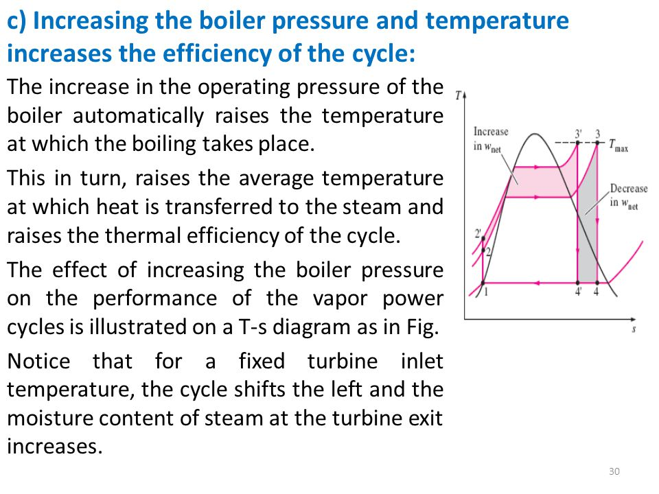 The increase in the operating pressure of the boiler automatically raises the temperature at which the boiling takes place. This in turn, raises the a