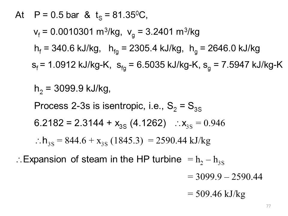 77 At P = 0.5 bar & t S = 81.35 0 C, v f = 0.0010301 m 3 /kg, v g = 3.2401 m 3 /kg h f = 340.6 kJ/kg, h fg = 2305.4 kJ/kg, h g = 2646.0 kJ/kg s f = 1.0912 kJ/kg-K, s fg = 6.5035 kJ/kg-K, s g = 7.5947 kJ/kg-K h 2 = 3099.9 kJ/kg, Process 2-3s is isentropic, i.e., S 2 = S 3S 6.2182 = 2.3144 + x 3S (4.1262) x 3S = 0.946 h 3S = 844.6 + x 3S (1845.3) = 2590.44 kJ/kg Expansion of steam in the HP turbine = h 2 – h 3S = 3099.9 – 2590.44 = 509.46 kJ/kg