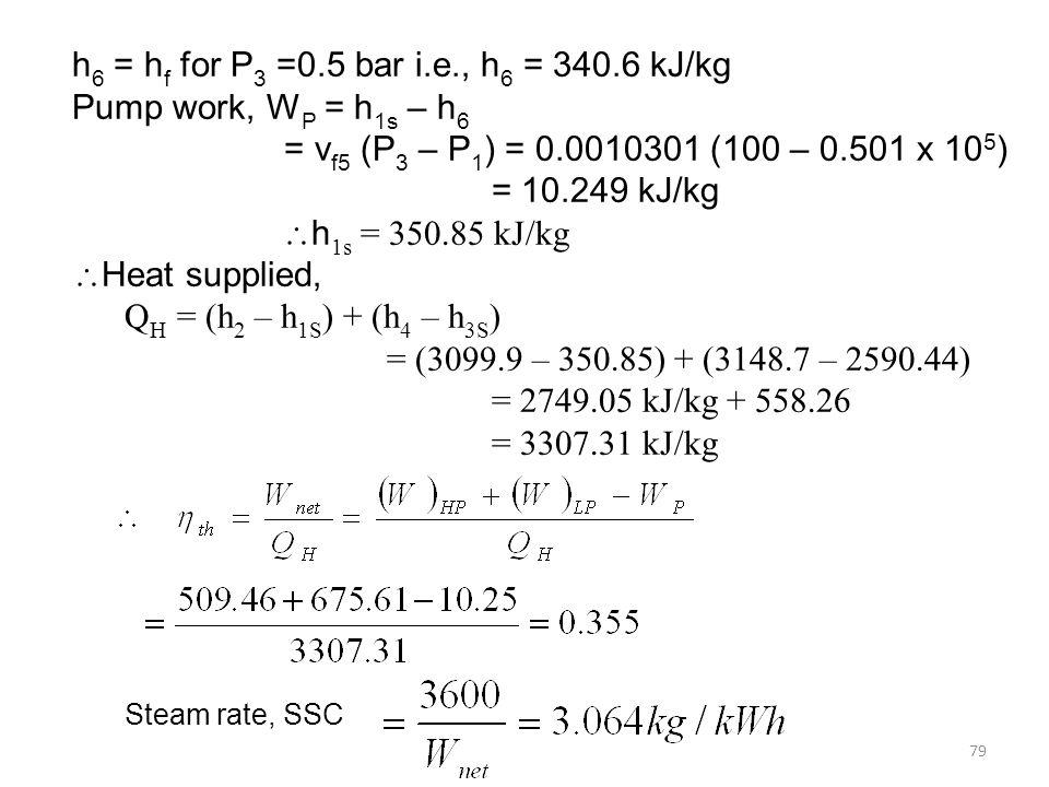 79 h 6 = h f for P 3 =0.5 bar i.e., h 6 = 340.6 kJ/kg Pump work, W P = h 1s – h 6 = v f5 (P 3 – P 1 ) = 0.0010301 (100 – 0.501 x 10 5 ) = 10.249 kJ/kg h 1s = 350.85 kJ/kg Heat supplied, Q H = (h 2 – h 1S ) + (h 4 – h 3S ) = (3099.9 – 350.85) + (3148.7 – 2590.44) = 2749.05 kJ/kg + 558.26 = 3307.31 kJ/kg Steam rate, SSC