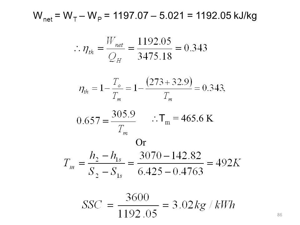 86 W net = W T – W P = 1197.07 – 5.021 = 1192.05 kJ/kg T m = 465.6 K Or