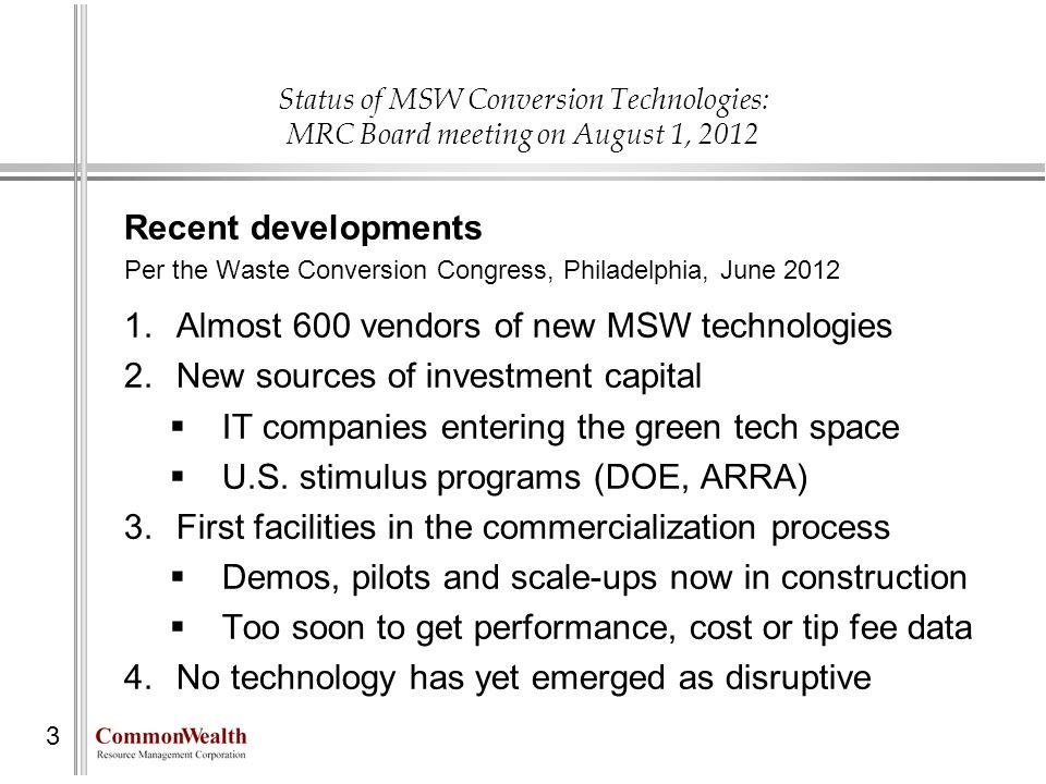 Status of MSW Conversion Technologies: MRC Board meeting on August 1, 2012 Recent developments Per the Waste Conversion Congress, Philadelphia, June 2