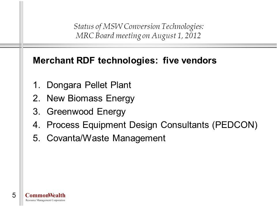 Status of MSW Conversion Technologies: MRC Board meeting on August 1, 2012 5 Merchant RDF technologies: five vendors 1.Dongara Pellet Plant 2.New Biom