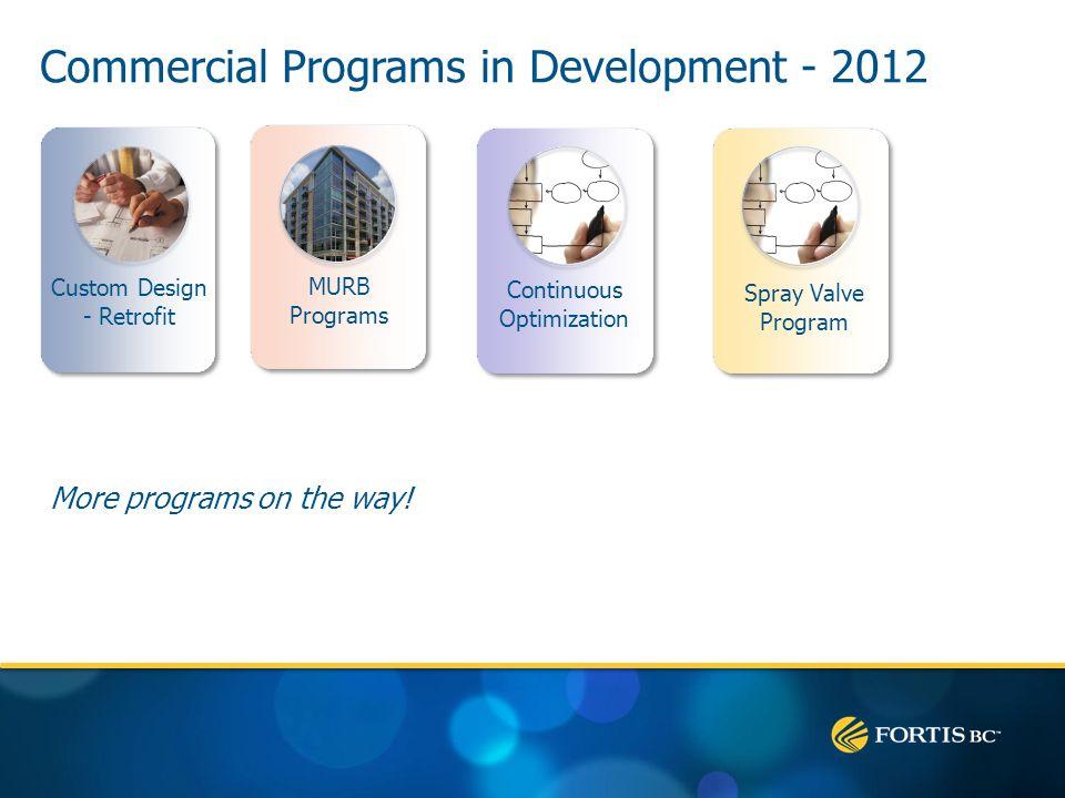 Commercial Programs in Development - 2012 More programs on the way! Custom Design - Retrofit MURB Programs Continuous Optimization Spray Valve Program