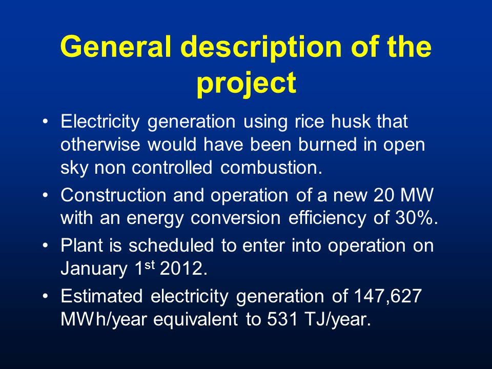 General description of the project Electricity generation using rice husk that otherwise would have been burned in open sky non controlled combustion.
