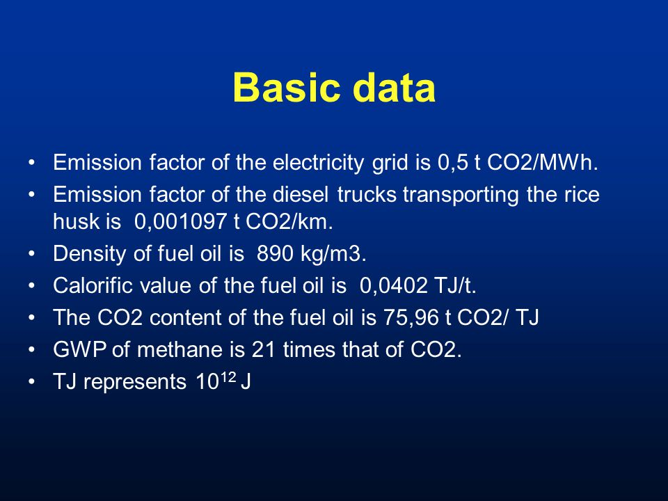 Basic data Emission factor of the electricity grid is 0,5 t CO2/MWh. Emission factor of the diesel trucks transporting the rice husk is 0,001097 t CO2