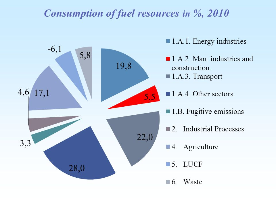 Consumption of fuel resources in %, 2010