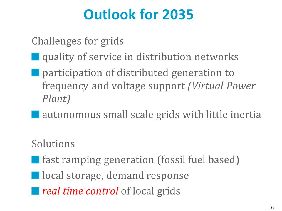 Outlook for 2035 6 Challenges for grids quality of service in distribution networks participation of distributed generation to frequency and voltage support (Virtual Power Plant) autonomous small scale grids with little inertia Solutions fast ramping generation (fossil fuel based) local storage, demand response real time control of local grids