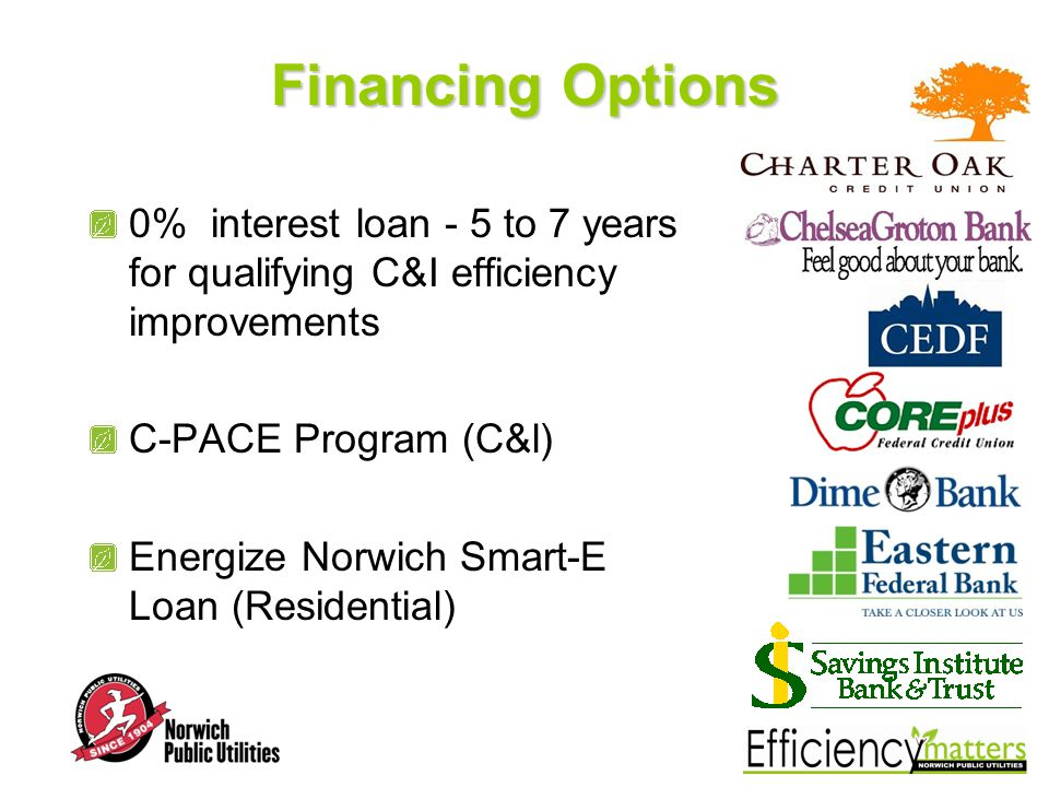Financing Options 0% interest loan - 5 to 7 years for qualifying C&I efficiency improvements C-PACE Program (C&l) Energize Norwich Smart-E Loan (Residential)