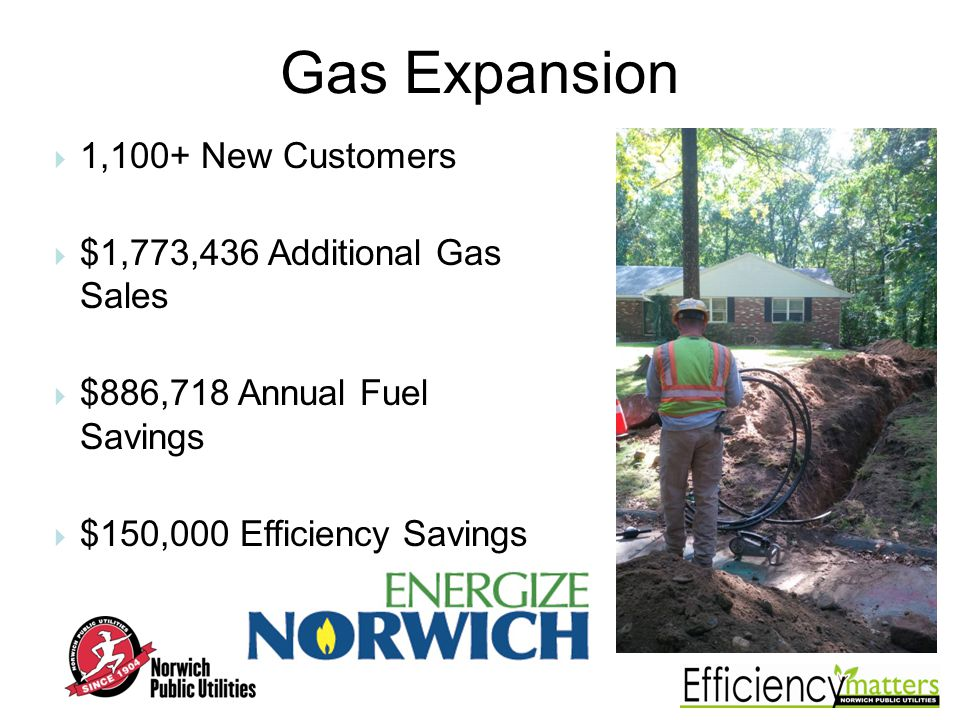 Gas Expansion 1,100+ New Customers $1,773,436 Additional Gas Sales $886,718 Annual Fuel Savings $150,000 Efficiency Savings
